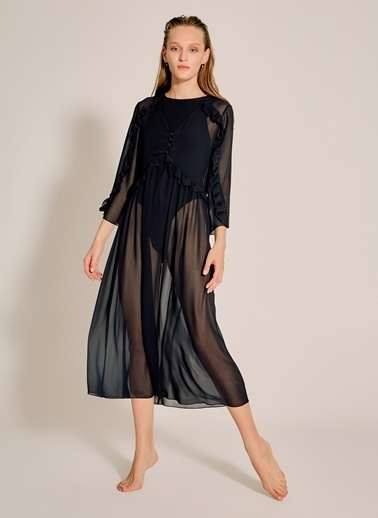 Morhipo Beach Volan Detaylı Şifon Elbise Siyah